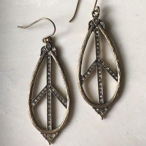 Brass tone rhinestone peace sign earrings